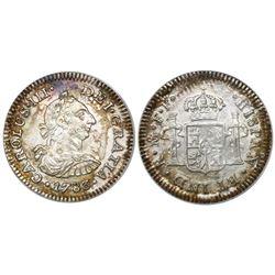 Mexico City, Mexico, bust 1/2 real, Charles III, 1783FF, encapsulated ANACS El Cazador / Prime Selec
