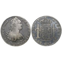 Lima, Peru, bust 8 reales, Charles IV, 1797IJ.
