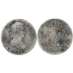 Seville, Spain, bust 8 reales, Ferdinand VII, 1815CJ.