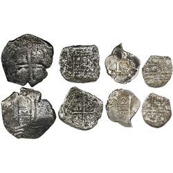 Lot of four silver shipwreck cobs: Atocha (1622) Potosi 4R Grade 4; Maravillas (1656) Mexico 4R assa