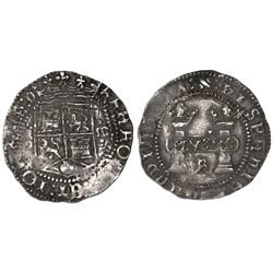"Mexico City, Mexico, 1 real, Charles-Joanna, ""Early Series,"" assayer R (Gothic) at bottom between pi"