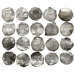Lot of ten Mexico City, Mexico, cob 4 reales, Philip IV, assayer P (where visible), some with test-c