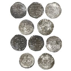 Lot of five Mexico City, Mexico, cob 1R, Philip II, assayer O, different varieties.
