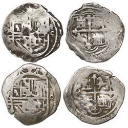 Lot of two Mexico City, Mexico, cob 1R, Philip II or III, assayer F to left, second assayer o to rig