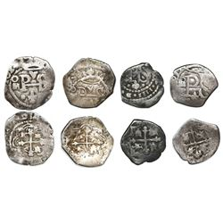 Lot of four Mexico City, Mexico, cob 1/2R, Philip III and IV, assayers P and not visible, three with