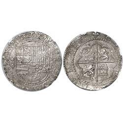 Lima, Peru, cob 4 reales, Philip II, assayer Diego de la Torre, *-4 to left, P-oD to right, encapsul