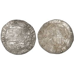 Lima, Peru, cob 4 reales, Philip II, assayer Diego de la Torre, P-4 to left, *-oD to right.