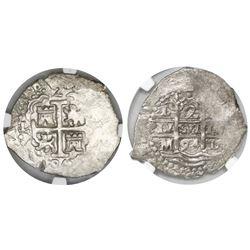 Lima, Peru, cob 2 reales, 1694M, encapsulated NGC AU 55.