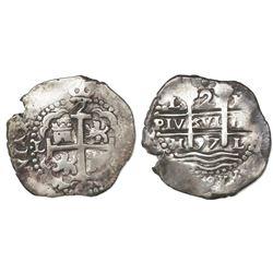 Lima, Peru, cob 2 reales, 1697H.