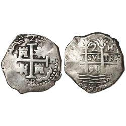 Lima, Peru, cob 2 reales, 1698H.