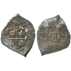 Lima, Peru, cob 2 reales, 1700H.