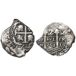 Lima, Peru, cob 2 reales, 1701H.