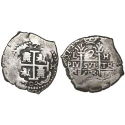 Lima, Peru, cob 2 reales, 1703H.