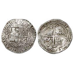 Potosi, Bolivia, cob 8 reales, Philip II, assayer B (3rd period, late style).