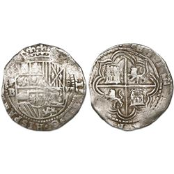 Potosi, Bolivia, cob 8 reales, Philip II, assayer B (3rd period, late style), border of boxes on rev