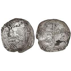 Potosi, Bolivia, cob 8 reales, Philip III, assayer B, rare.