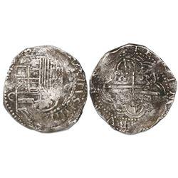 Potosi, Bolivia, cob 8 reales, Philip III, assayer C or C/Q, rare.