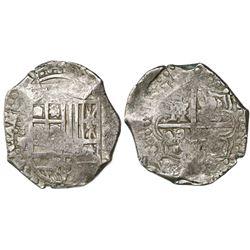 Potosi, Bolivia, cob 8 reales, Philip IV, assayer Z/TR(?).