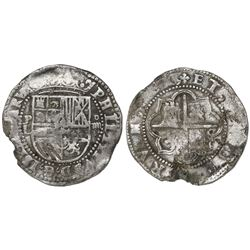 Potosi, Bolivia cob 4 reales, Philip II, assayer L (1st period), with P-L over denomination ii to le