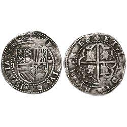 Potosi, Bolivia cob 4 reales, Philip II, assayer L (1st period).