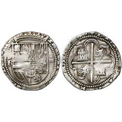 Potosi, Bolivia, cob 4 reales, Philip II, assayer B (1st period).