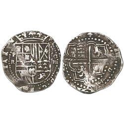 Potosi, Bolivia, cob 4 reales, Philip II, assayer R (Ramos).