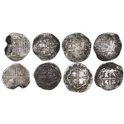 Lot of four Potosi, Bolivia, cob 4 reales, Philip II and III, assayers B, Q and not visible.