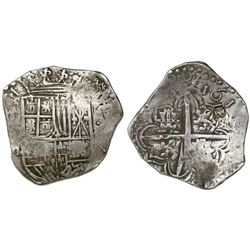 Potosi, Bolivia, cob 4 reales, 1617M, date at 2 o'clock, with unidentified Jerusalem-cross counterma
