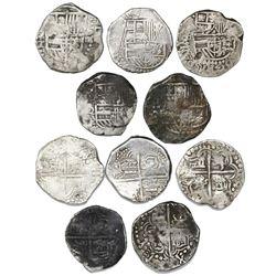 Lot of five Potosi, Bolivia, cob 4 reales, Philip III, assayers R, Q (2), M and T (all visible).