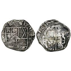 Potosi, Bolivia, cob 4 reales, 1630T, rare.