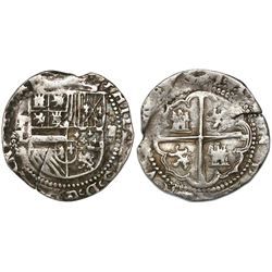 Potosi, Bolivia cob 2 reales, Philip II, assayer L (1st period), with P-L over denomination ii to le