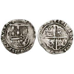 Potosi, Bolivia, cob 2 reales, Philip II, assayer L/L (1st period).