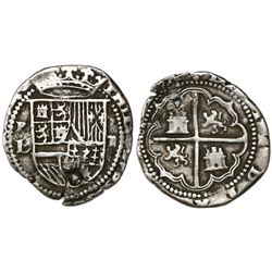 Potosi, Bolivia cob 2 reales, Philip II, assayer L (1st period), with L/M below mintmark P to left,