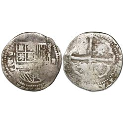Potosi, Bolivia cob 2 reales, Philip II, assayer L (1st period), with L/L/L/M below mintmark P to le