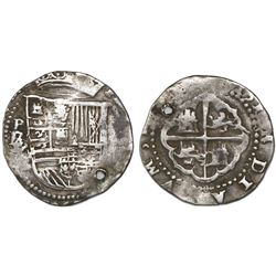 Potosi, Bolivia cob 2 reales, Philip II, assayer B (1st period), with B/L/L/L/M below mintmark P to