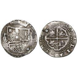 Potosi, Bolivia cob 2 reales, Philip II, assayer B (1st period), with B/L/L/L/M below mintmark P to