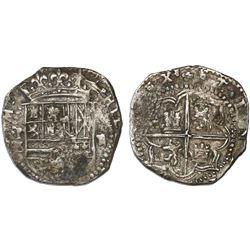 Potosi, Bolivia, cob 2 reales, Philip II, assayer B/L (1st period), rare.