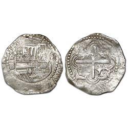 Potosi, Bolivia cob 2 reales, Philip II, assayer B (2nd period), unique error with upside-down -AS f