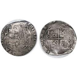Potosi, Bolivia, cob 2 reales, Philip II, assayer B (3rd period), encapsulated ICG VF20.