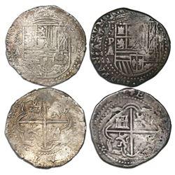 Lot of two Potosi, Bolivia, cob 2 reales, Philip II, assayer A/B.