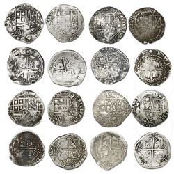 Lot of eight Potosi, Bolivia, cob 2 reales, Philip II, assayers B (4th and 5th periods), A/B, A and