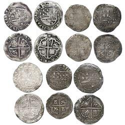 Lot of seven Potosi, Bolivia, cob 2 reales of Philip II assayer B (various periods).