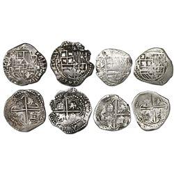 Lot of four Potosi, Bolivia, cob 2 reales, Philip III, assayer RL (curved leg).