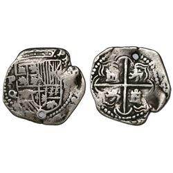 Potosi, Bolivia, cob 2 reales, Philip III, assayer Q/R, rare.