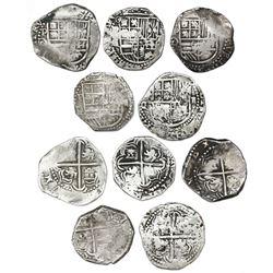 Lot of five Potosi, Bolivia, cob 2 reales, Philip III, assayer Q/C, rare.