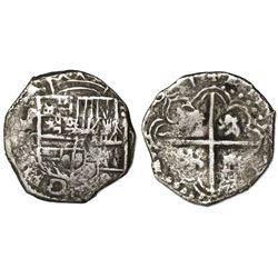 Potosi, Bolivia, cob 2 reales, (1)6(1)7M/Q, rare mule.