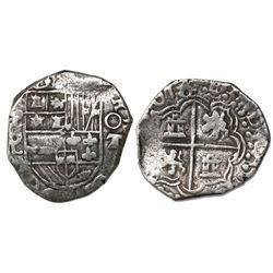 Potosi, Bolivia, cob 2 reales, 1618T+PAL (large), very rare.