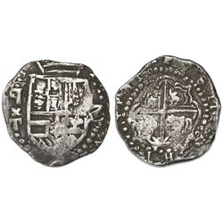 Potosi, Bolivia, cob 2 reales, Philip III, assayer T below backwards-P mintmark (ca. 1620), quadrant