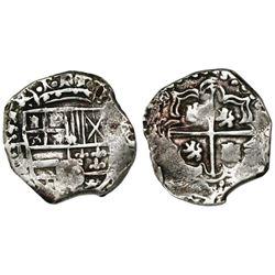 Potosi, Bolivia, cob 2 reales, Philip III, assayer T ABOVE mintmark P to right (ca. 1620), very rare