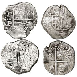 Lot of two Potosi, Bolivia, cob 2 reales, Philip III and IV, assayers M and P.